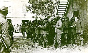 World War I prisoners of war in Germany - Italian prisoners of war being fed by austro-hungarians