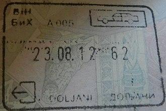 Visa policy of Bosnia and Herzegovina - Image: BOSNIA DOLJANI exit stamp