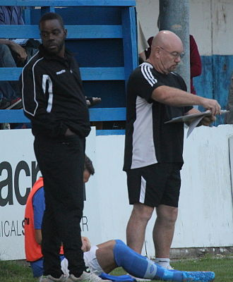 Billericay Town F.C. - Kevin Ramsay and Craig Edwards, 5 August 2014, during a pre-season friendly with Charlton Athletic.