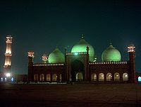 The 17th Century Badshahi Mosque built by Mughal emperor Aurangzeb in Lahore