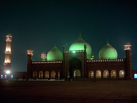 Badshahi Mosque built under the Mughal emperor Aurangzeb in Lahore, Pakistan Badshahi Masjid at night on July 20 2005.jpg
