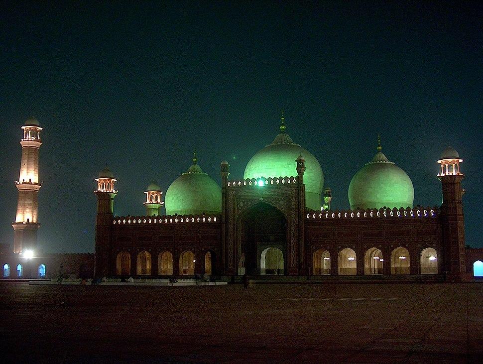 Badshahi Masjid at night on July 20 2005