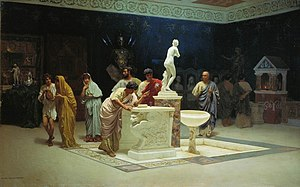 Classical Latin - At Maecenas' Reception, oil, Stepan Bakalovich, 1890. An artist's view of the classical. Maecenas knew and entertained everyone literary in the Golden Age, especially Augustus.