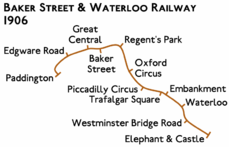 Route diagram showing line running from Paddington at left to Elephant & Castle at bottom right. The Paddington end is hooked downwards.