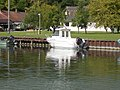 Balaton Fish Management harbour, militia boat in Keszthely, 2016 Hungary.jpg