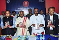 Bandaru Dattatreya releasing the new TV Commercialfilm on ESIC 2.0, featuring Member of Parliament, Mrs. Hema Malini, at the 168th meeting of ESI Corporation, in Hyderabad.jpg