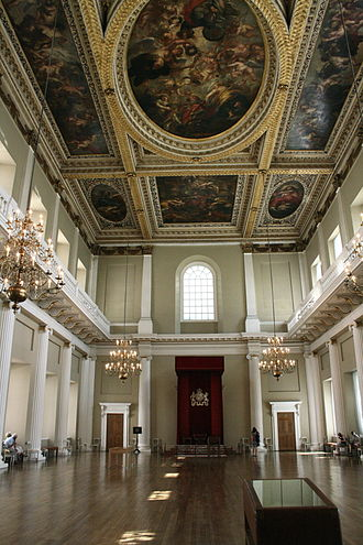 Inigo Jones - Interior of Banqueting House, with ceiling painted by Rubens