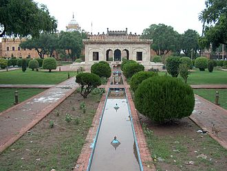 Sikh period in Lahore - The Hazuri Bagh Baradari, built by Ranjit Singh, located in the Hazuri Bagh, Lahore.