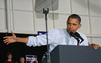 English: Barack Obama speaking at a rally at t...