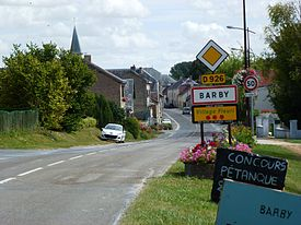 Barby (Ardennes) city limit sign.JPG