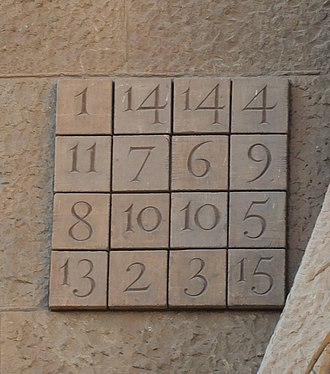 A magic square on the Sagrada Familia church facade Barcelona Sagrada Familia passion facade magic square.jpg
