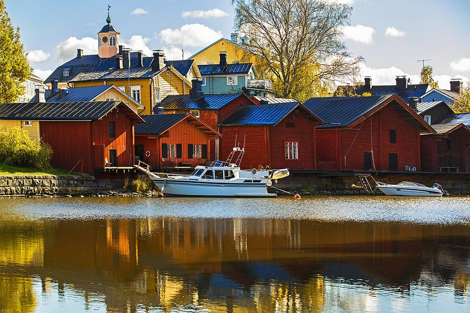 Barns on the shore of the river