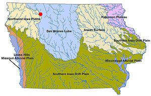 Barringer Slough - Barringer Slough (red) on landform map of Iowa.