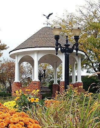 Barrington, Illinois - Gazebo at corner of Main Street and Hough Street in downtown Barrington in autumn