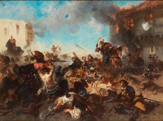 Skirmish at Bender - The battle of Bender by Edouard Armand-Dumaresq