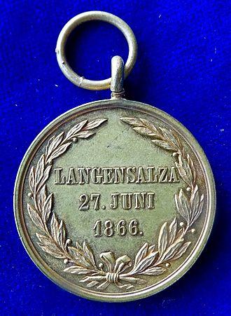 Battle of Langensalza (1866) - Battle of Langensalza (1866) Hanoverian Medal, reverse.