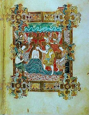 Miniature (illuminated manuscript) - Miniature of the baptism of Christ from the Benedictional of St. Æthelwold, 10th century, is an example of the Anglo-Saxon school.