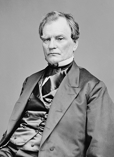 Benjamin Wade came within one vote of being the first president pro tempore to succeed to the presidency after the impeachment trial of Andrew Johnson in 1868 Benjamin F Wade - Brady-Handy.jpg