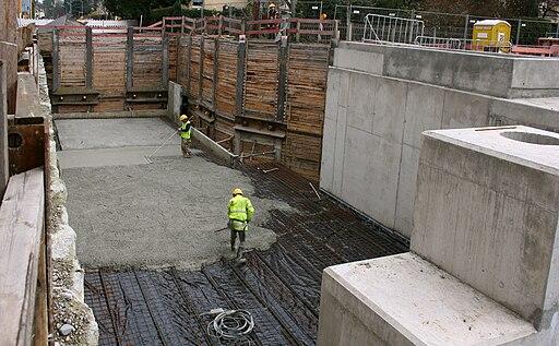 Betonierung der Tunneldecke im Bereich Betriebsstation Garmischer Strasse