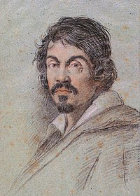 Chalk portrait of Caravaggio by Ottavio Leoni, c. 1621.