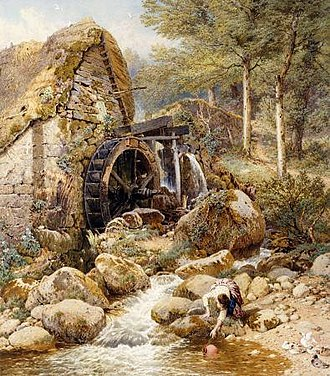 Myles Birket Foster - The Old Watermill (unknown date; before 1899)