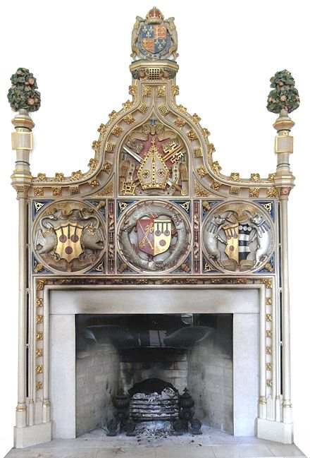 "The ""exceedingly ostentatious"" Bishop Courtenay Mantelpiece, Bishop's Palace, Exeter, erected by Bishop Peter Courtenay BishopPeterCourtenay MantelpieceExeterPalace.JPG"