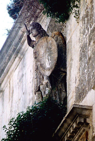 Bitonto - Statue of Michael, protector of the Vulpano family.