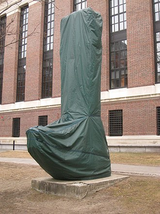 "Acid rain - Since 1998, Harvard University wraps some of the bronze and marble statues on its campus, such as this ""Chinese stele"", with waterproof covers every winter, in order to protect them from corrosion caused by acid rain and acid snow"