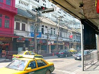 Charoen Krung Road - Shophouses line Charoen Krung Road near Bang Rak Junction, where it meets Si Lom Road