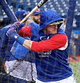 Blue Jays third baseman Josh Donaldson takes batting practice before the AL Wild Card Game. (30051724521).jpg