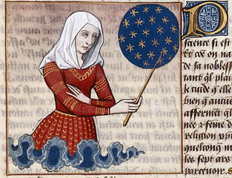 Faltonia Betitia Proba - Faltonia Proba teaching the history of the world since the Creation through her Cento Vergilianus de laudibus Christi. Miniature from a 15th-century manuscript of the De mulieribus claris by Giovanni Boccaccio.
