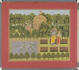 Krishna in a garden