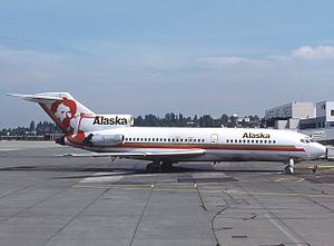 Alaska Airlines - A Boeing 727–100 at Seattle-Tacoma International Airport. The airline introduced this type in the mid-1960s.