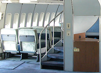 Boeing 747 - On the 747-100 and 747-200, a spiral staircase connected the main and upper decks. Previously, Boeing used a spiral staircase in its Model 377 Stratocruiser in 1946.