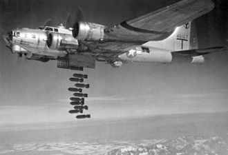 2nd Operations Group - A B-17G of the 96th BS, 2d BG, dropping its bombs.