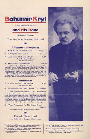 Bohumir Kryl - Program page from 1917 US tour