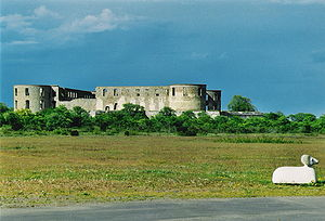 Borgholm Castle - A distant view of Borgholm Castle.