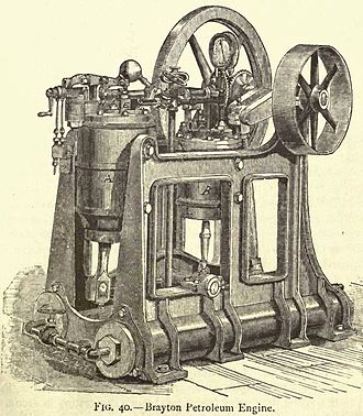 George Brayton - The early Brayton engine (image taken from Gas and Oil Engines by Dugald Clerk in 1886, and used on the cover of some later editions)
