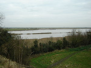 Breydon Water - Breydon's western end at the River Yare confluence as viewed from Burgh Castle