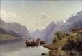 Bridal Escort on the Hardanger Fiord (Johan Fredrik Eckersberg) - Nationalmuseum - 18492.tif