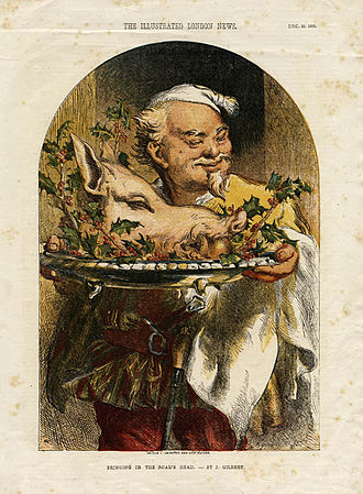 Hospitality - Bringing in the boar's head. In heraldry, the boar's head was sometimes used as symbol of hospitality, often seen as representing the host's willingness to feed guests well. It is likewise the symbol of a number of inns and taverns.