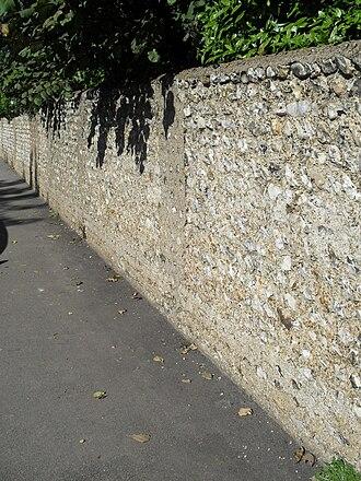 British Engineerium - Coursed flint walls surround the Engineerium.
