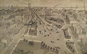 Manhattan Bridge - The Brooklyn Plaza of the bridge c.1917. Nassau Street is across the foreground.