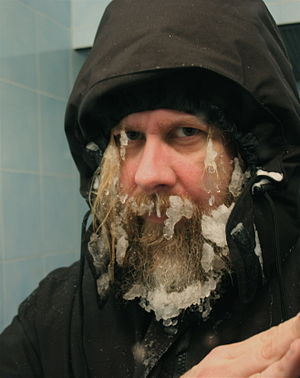 Taken in mirror by subject after shoveling sno...