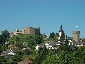 Lindenfels - Castle, Catholic and Evangelical churches, Bürgerturm (tower)