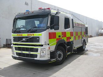 Battenburg markings - A South Australian Country Fire Service appliance with red-and-yellow markings