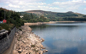 1976 United Kingdom heat wave - Burrator Reservoir in Devon, July 1976. Many reservoirs, like this one, were at a very low level