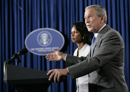 "George W. Bush declared that Hezbollah lost the war and that ""There's going to be a new power in the south of Lebanon"". Bush delivers Middle East crisis statement w Rice Aug 7 2006.jpg"