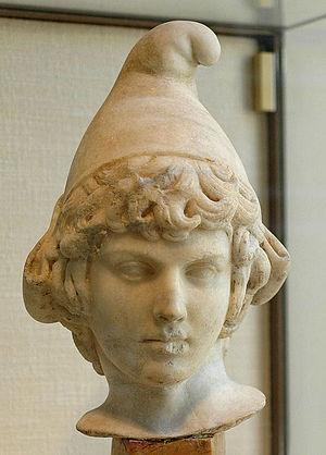 Phrygian cap - Head of Attis wearing a Phrygian cap (Parian marble, 2nd century AD).