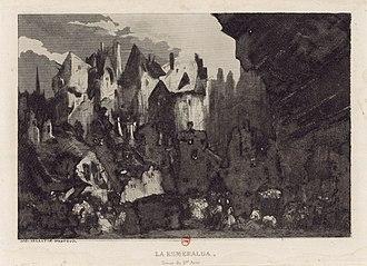 La Esmeralda (opera) - Célestin Nanteuil's engraving of the Act I set design, after Cambon.
